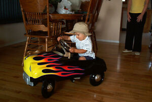 Pedal Car, Black, With Flames Excellent Condition