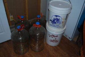 Wine making Equipment. Includes 2 Buckets, 4 glass carbo