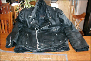 MANTEAU CUIR  MOTO / LEATHER BIKER JACKET   (Noir)