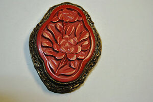 Vintage Chinese Carved Cinnabar Pin Brooch .