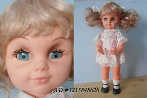 "Vintage Girl Doll 18"" Musical Baby Rock A Bye 1976 Hong Kong"
