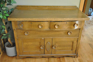 Antique Solid Oak Dining Hutch