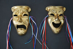 Vintage Lacquered Brass Comedy / Tragedy Theater Masks Edmonton Edmonton Area image 1