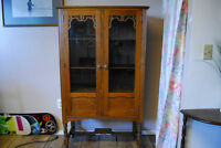Antique solid oak kitchen display cabinet, excellent condition.