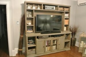 TV Console with 4 Doors and Open Shelf Storage