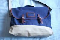 NEW Fred Perry Navy Canvas Leather Messenger Bag