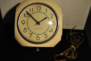 Vintage Westclox Wall Clock Kitchen Electric Square Dunbar Metal