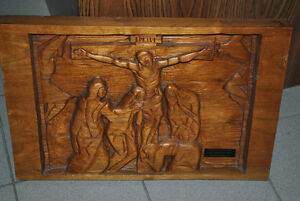 Vintage Religious WALNUT Wood Carving: Crucifixion of Christ