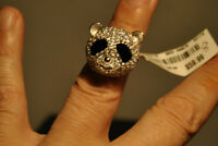 925 Sterling Silver Panda Black Eyes Fashion Ring