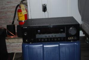 Yamaha receiver and Polk Audio surround sound speakers