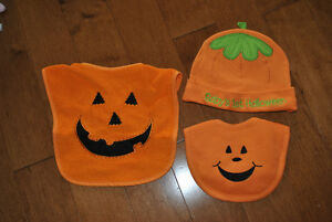 Baby's First Halloween Hat and Bib Set - New, unwashed, unworn