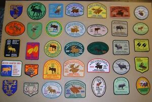HUNTING PATCHES FOR SALE DEER,BEAR,MOOSE,MNR,vintage lures,boxes