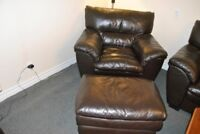 matching brown leather chair, ottoman and loveseat