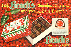 1950 2-page magazine ad for Brach's Chocolate covered cherries