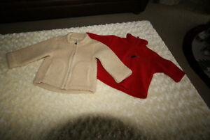 Baby Boy Baby Gap Fleece Jacket Beige & Red POLO Sz 12-18 Mths