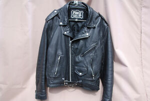 Men's Leather Motorcycle Jacket (L)