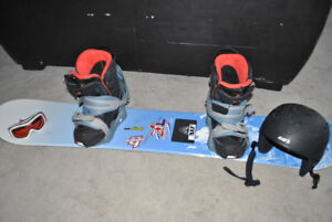 snowboard package board, boots, helmet, goggles