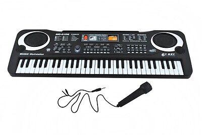 Einsteiger Keyboard Mikrofon 61 Tasten 100 Rhythmen Demosounds Netzteil #1546