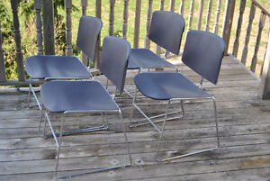 Mid-Century Chrome Purple Plastic Stacking Chairs~Steelcase x4