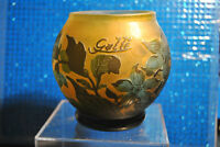 Cameo Art Glass Vase Acid Cut 3 Color Cased Galle' TIP R