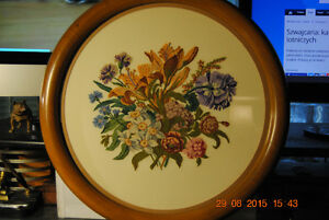 TWO Vintage  PAIR Round Wood Gilded Frame Flowers Needlepoint Ar
