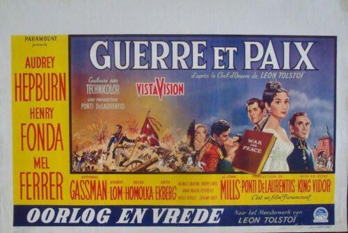 WAR AND PEACE Belgian movie poster AUDREY HEPBURN HENRY FONDA 1956 RARE