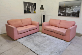 DFS ®️ 2x2 Seater PINK Fabric Sofa Set - Only £249..!!
