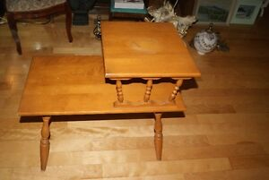 Beautiful vintage solid wood two-tier accent table