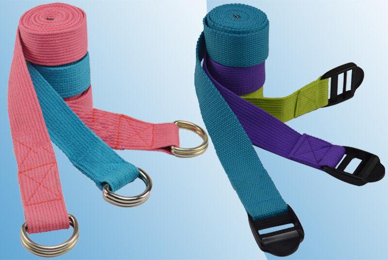 Yoga Strap Pilates Gurt 1,90m mit Metal- oder Plastikschnalle