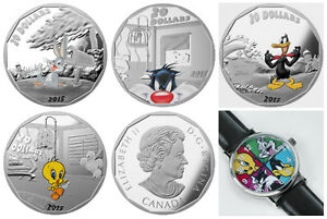 Looney Tunes–4 Silver Coin Set–Bugs Bunny-Daffy-Tweety-Sylvester