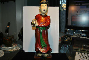 Antiques Chinese Polychrome Carved Wood Figures