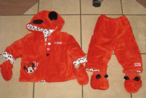 Slightly used 6-12 month Baby Girl Disney Minnie Coat Set in gre