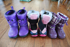 Three pairs of girls boots Size 6 and 7