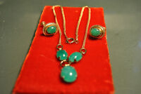 VINTAGE COSTUME JEWELRY JADE NECKLACE AND CLIP
