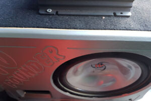 """10"""" Sub in Ported Box, 250W Amp, Line Output Converter"""