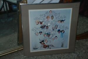 NORMAN ROCKWELL VINTAGE WHIMSICKLE FRAMED FAMILY TREE PRINT