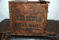"25 LBS. of Square, 2-1/2"",  Antique Boat Nails in Original Box"