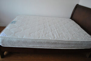 second hand wood queen size bed and palm mattress for sale