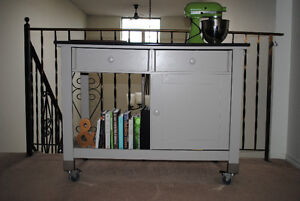 Sturdy kitchen island / cart w/ 2 drawers and shelves