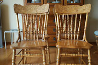 Solid oak chairs and table
