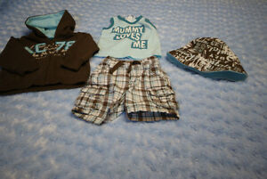 Baby Boy 4 Pce L.O.G.G. Hoodie, Shorts, Top & Hat Size 6-9 Mths