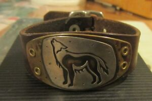 Silver and Brass Wolf Bracelet