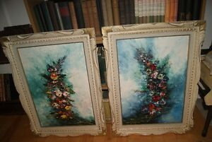 2 matching 17 by 24 original oil paintings Flowers by L. Leroux