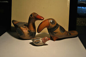 3 Vintage Mexican Ceramic Clay Bird Hndmade Painted Folk Art Gre