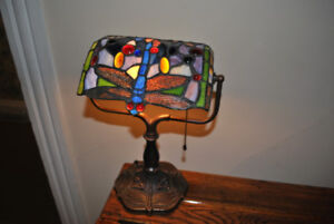 Tiffany Style Dragonfly Bankers Lamp