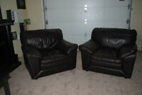 2 comfy leather chairs.
