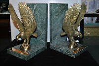 BRASS ON MARBLE AMERICAN EAGLE BOOKENDS