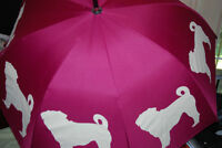 Designer umbrella, decorated with pugs,  brand new with tags