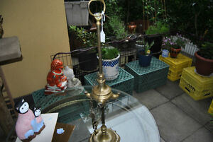 Old Antique Brass 4 Wick Whale Oil Lamp with Tools