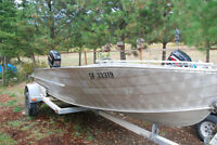 "16 ft Aluminum Boat with ""New"" Rebuilt 40 HP Mercury Outboard"